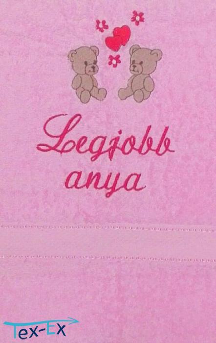 110b6cc512 Legjobb anya + macik, rózsaszín | Hímzett Textil Expressz